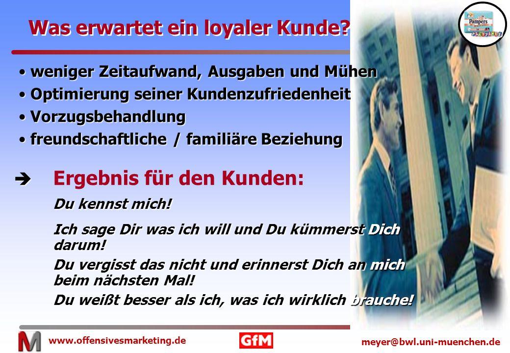 www.offensivesmarketing.de meyer@bwl.uni-muenchen.de Was erwartet ein loyaler Kunde? weniger Zeitaufwand, Ausgaben und Mühen weniger Zeitaufwand, Ausg