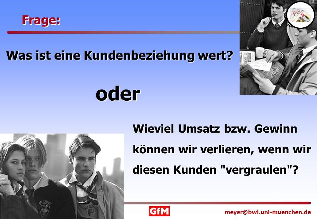 www.offensivesmarketing.de meyer@bwl.uni-muenchen.de Frage: Was ist eine Kundenbeziehung wert? oder Wieviel Umsatz bzw. Gewinn können wir verlieren, w