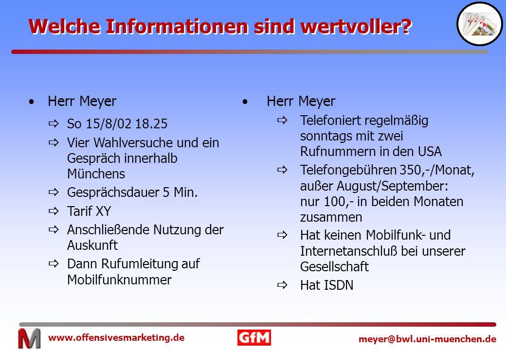 www.offensivesmarketing.de meyer@bwl.uni-muenchen.de Welche Informationen sind wertvoller? Herr Meyer So 15/8/02 18.25 Vier Wahlversuche und ein Gespr