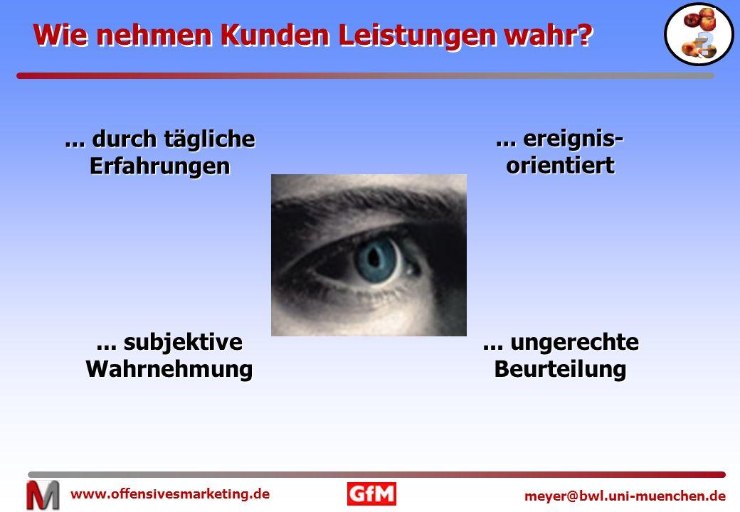 www.offensivesmarketing.de meyer@bwl.uni-muenchen.de Wie nehmen Kunden Leistungen wahr?... durch tägliche Erfahrungen... subjektive Wahrnehmung... ung