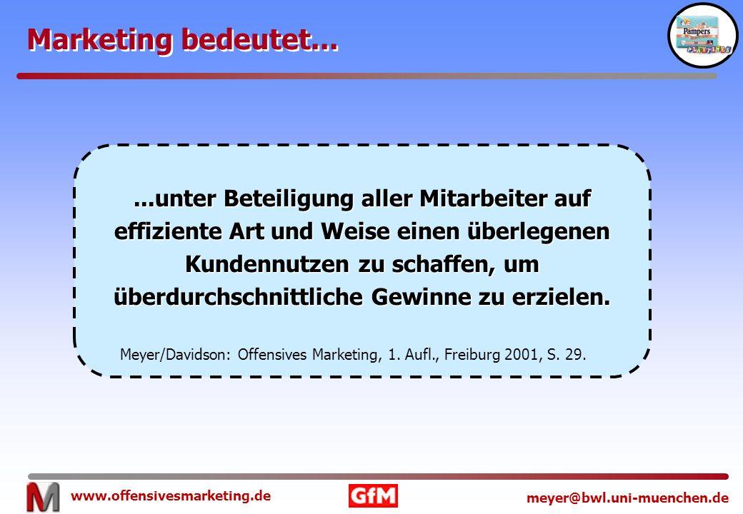 www.offensivesmarketing.de meyer@bwl.uni-muenchen.de Marketing bedeutet......unter Beteiligung aller Mitarbeiter auf effiziente Art und Weise einen üb