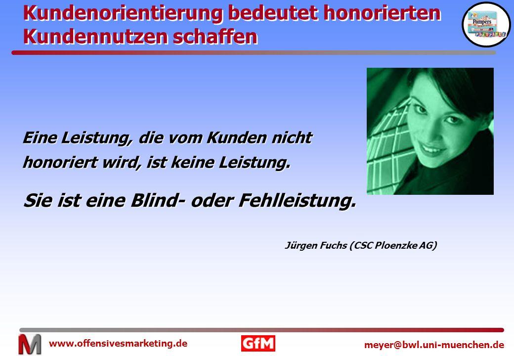 www.offensivesmarketing.de meyer@bwl.uni-muenchen.de Eine Leistung, die vom Kunden nicht honoriert wird, ist keine Leistung. Kundenorientierung bedeut