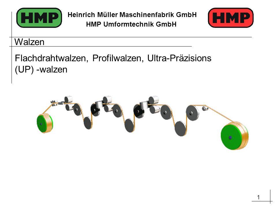 1 Heinrich Müller Maschinenfabrik GmbH HMP Umformtechnik GmbH Walzen Flachdrahtwalzen, Profilwalzen, Ultra-Präzisions (UP) -walzen