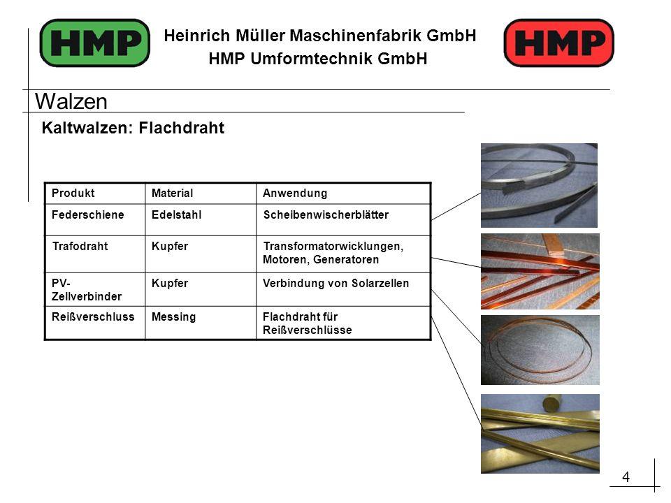 4 Heinrich Müller Maschinenfabrik GmbH HMP Umformtechnik GmbH Kaltwalzen: Flachdraht ProduktMaterialAnwendung FederschieneEdelstahlScheibenwischerblät
