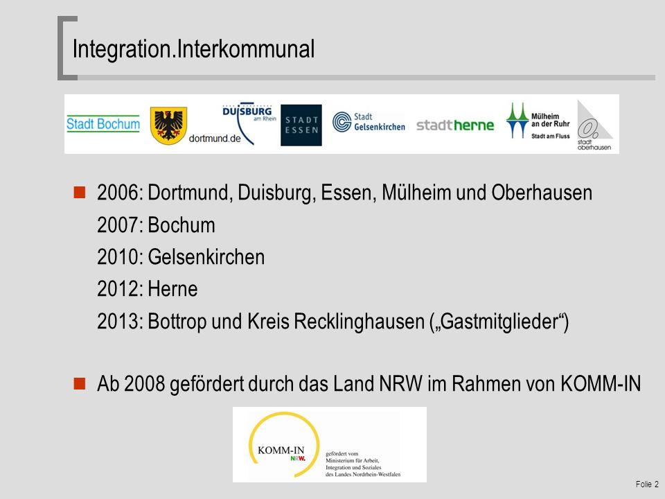 Folie 2 Integration.Interkommunal 2006: Dortmund, Duisburg, Essen, Mülheim und Oberhausen 2007: Bochum 2010: Gelsenkirchen 2012: Herne 2013: Bottrop und Kreis Recklinghausen (Gastmitglieder) Ab 2008 gefördert durch das Land NRW im Rahmen von KOMM-IN
