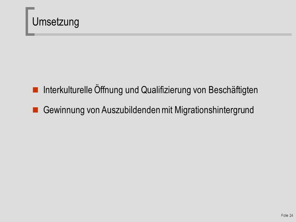 Folie 24 Umsetzung Interkulturelle Öffnung und Qualifizierung von Beschäftigten Gewinnung von Auszubildenden mit Migrationshintergrund