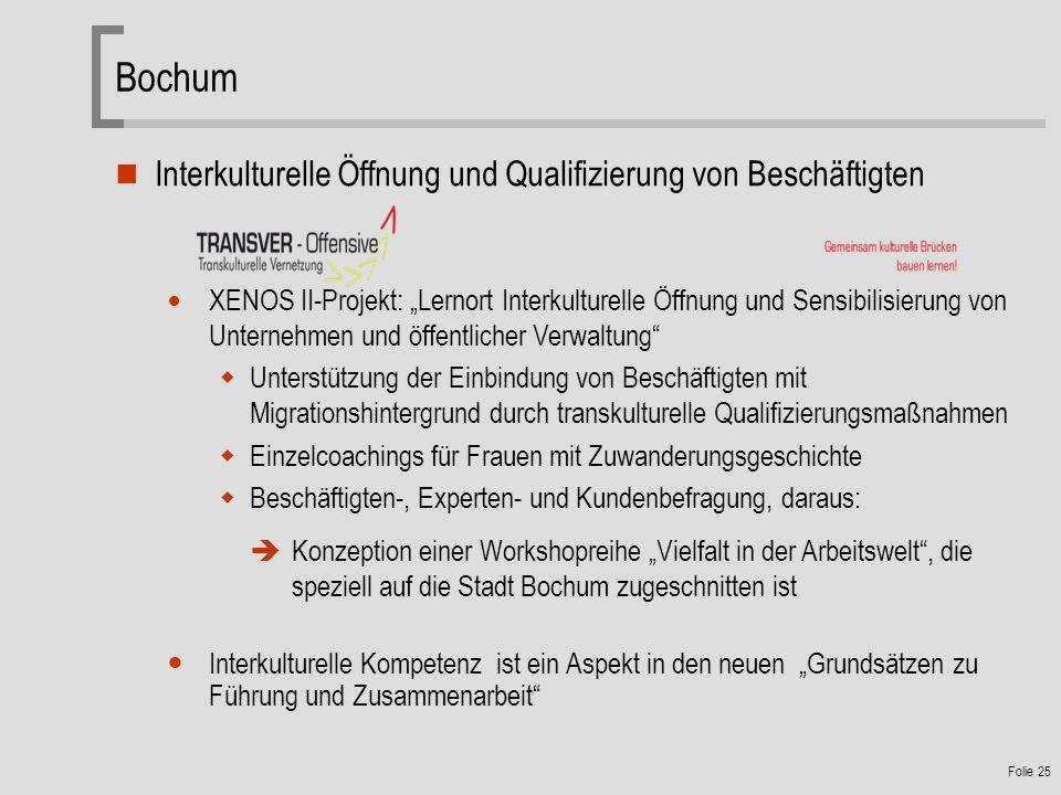 Folie 25 Bochum Interkulturelle Öffnung und Qualifizierung von Beschäftigten XENOS II-Projekt: Lernort Interkulturelle Öffnung und Sensibilisierung von Unternehmen und öffentlicher Verwaltung Unterstützung der Einbindung von Beschäftigten mit Migrationshintergrund durch transkulturelle Qualifizierungsmaßnahmen Einzelcoachings für Frauen mit Zuwanderungsgeschichte Beschäftigten-, Experten- und Kundenbefragung, daraus: Konzeption einer Workshopreihe Vielfalt in der Arbeitswelt, die speziell auf die Stadt Bochum zugeschnitten ist Interkulturelle Kompetenz ist ein Aspekt in den neuen Grundsätzen zu Führung und Zusammenarbeit