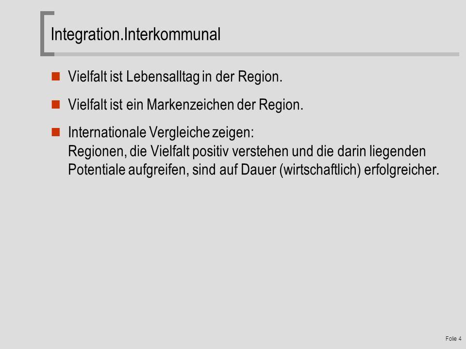 Folie 4 Integration.Interkommunal Vielfalt ist Lebensalltag in der Region.