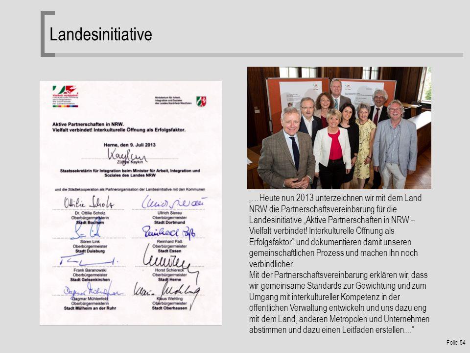 Folie 54 Landesinitiative …Heute nun 2013 unterzeichnen wir mit dem Land NRW die Partnerschaftsvereinbarung für die Landesinitiative Aktive Partnerschaften in NRW – Vielfalt verbindet.