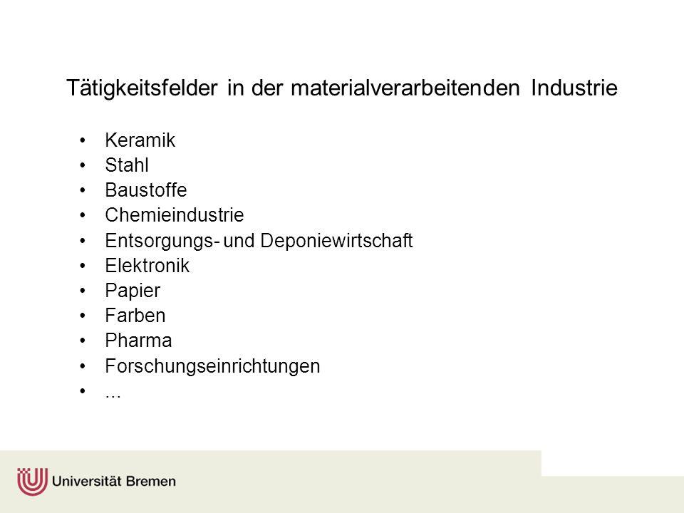 Tätigkeitsfelder in der materialverarbeitenden Industrie Keramik Stahl Baustoffe Chemieindustrie Entsorgungs- und Deponiewirtschaft Elektronik Papier