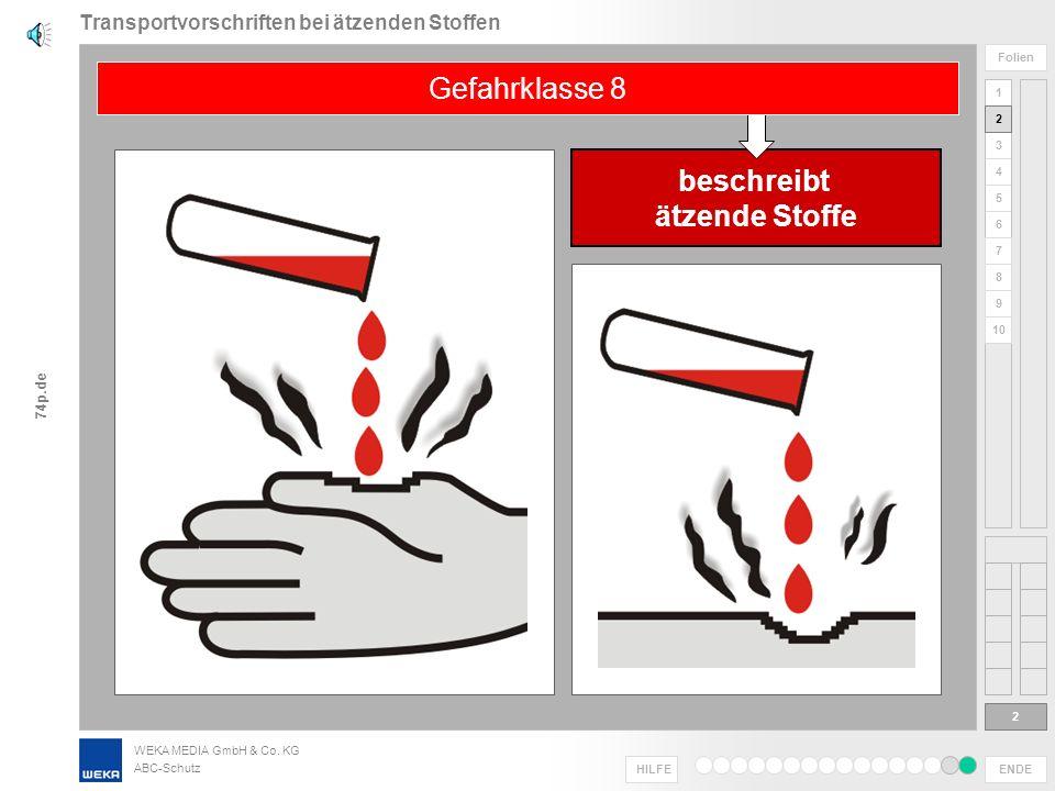 WEKA MEDIA GmbH & Co. KG ABC-Schutz ENDE HILFE 1 2 3 4 5 6 Folien 7 8 9 10 74p.de Transportvorschriften bei ätzenden Stoffen 1 Herzlich willkommen zur