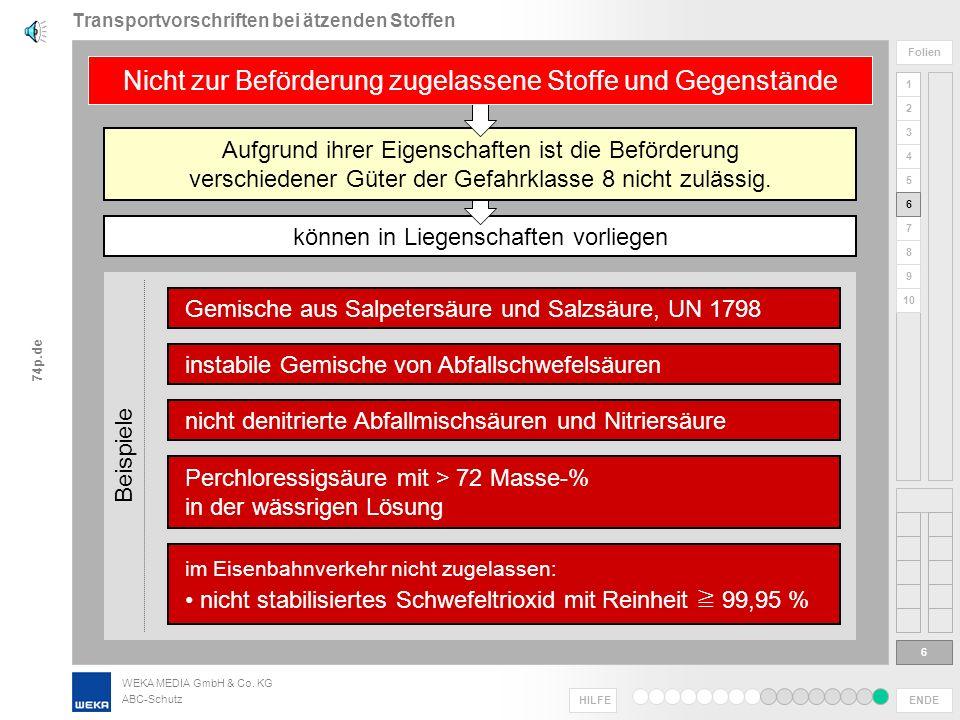 WEKA MEDIA GmbH & Co. KG ABC-Schutz ENDE HILFE 1 2 3 4 5 6 Folien 7 8 9 10 74p.de Verpackungsgruppe III Verpackungsgruppe I Verpackungsgruppe II Zerst