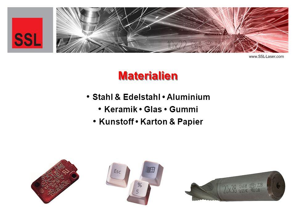 Stahl & Edelstahl Aluminium Materialien Keramik Glas Gummi Kunstoff Karton & Papier