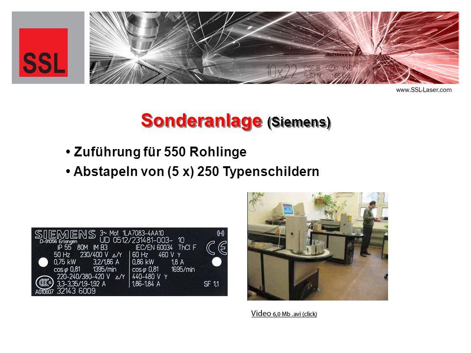 Zuführung für 550 Rohlinge Sonderanlage (Siemens) Abstapeln von (5 x) 250 Typenschildern