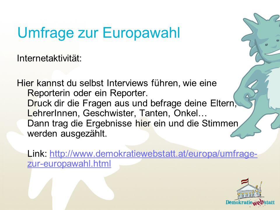Umfrage zur Europawahl Internetaktivität: Hier kannst du selbst Interviews führen, wie eine Reporterin oder ein Reporter. Druck dir die Fragen aus und