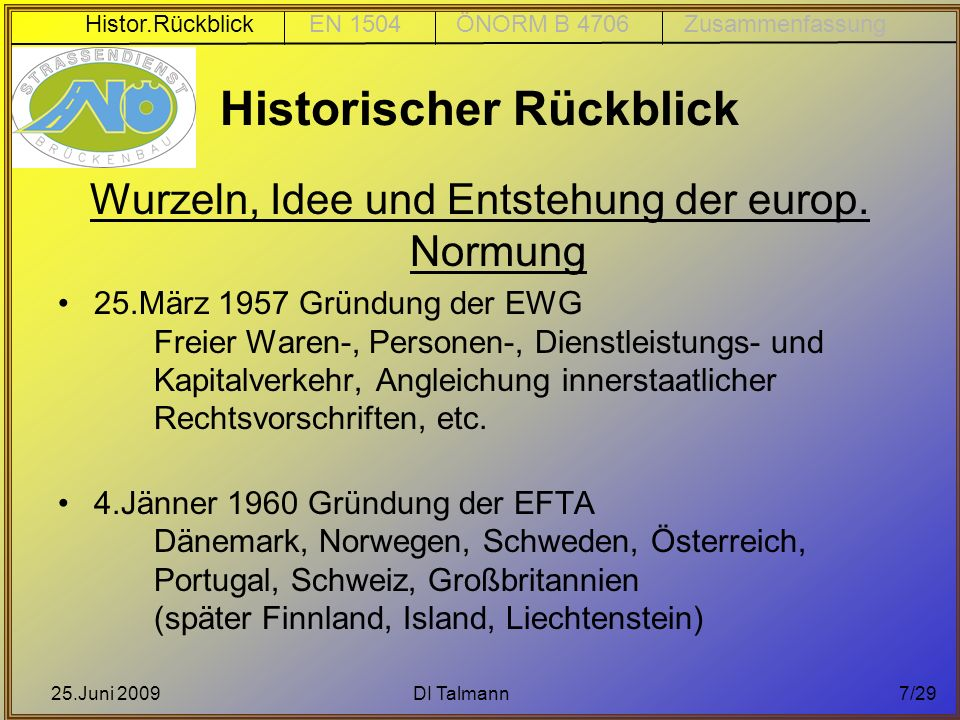 25.Juni 2009DI Talmann7/29 Historischer Rückblick Wurzeln, Idee und Entstehung der europ. Normung 25.März 1957 Gründung der EWG Freier Waren-, Persone