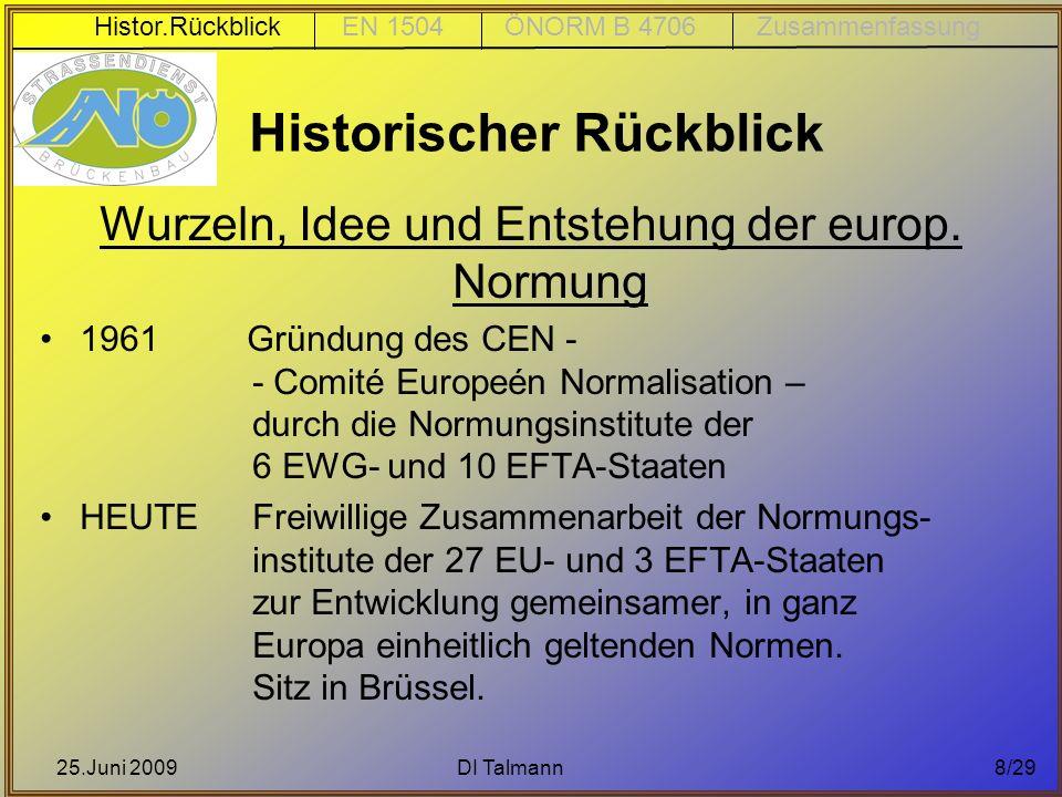 25.Juni 2009DI Talmann8/29 Historischer Rückblick Wurzeln, Idee und Entstehung der europ. Normung 1961 Gründung des CEN - - Comité Europeén Normalisat