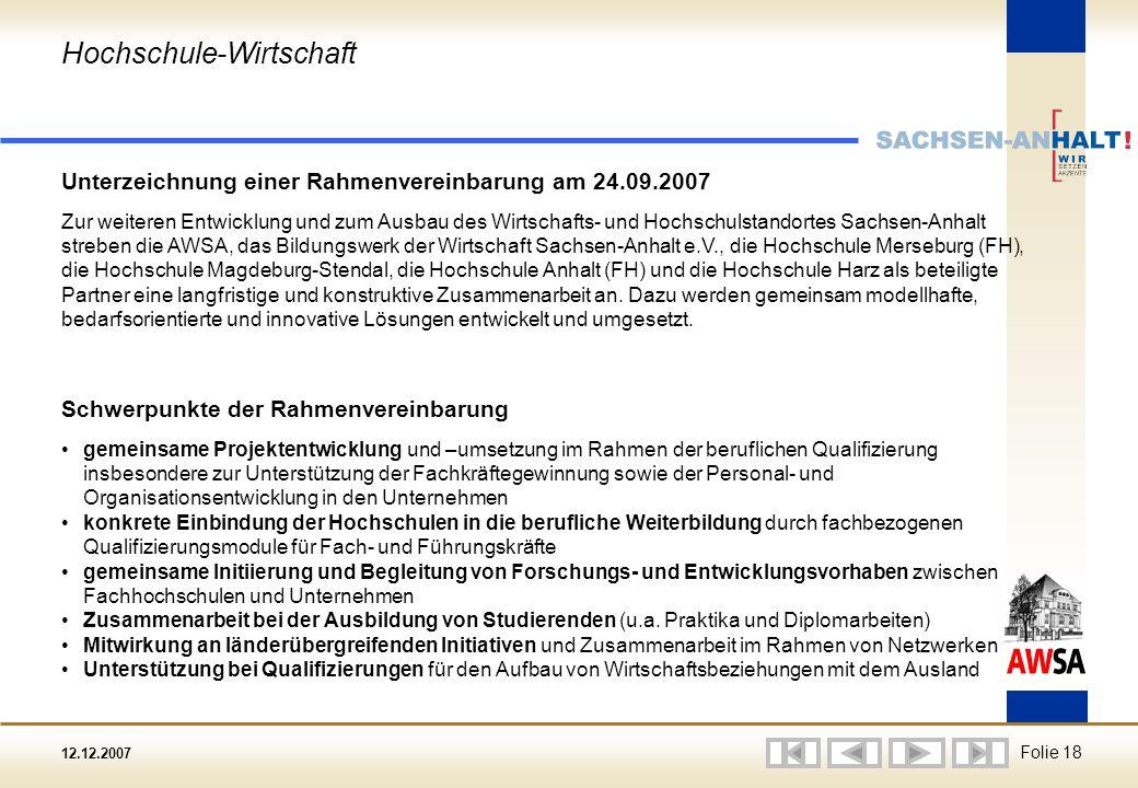 12.12.2007 Folie 18 Hochschule-Wirtschaft Unterzeichnung einer Rahmenvereinbarung am 24.09.2007 Zur weiteren Entwicklung und zum Ausbau des Wirtschafts- und Hochschulstandortes Sachsen-Anhalt streben die AWSA, das Bildungswerk der Wirtschaft Sachsen-Anhalt e.V., die Hochschule Merseburg (FH), die Hochschule Magdeburg-Stendal, die Hochschule Anhalt (FH) und die Hochschule Harz als beteiligte Partner eine langfristige und konstruktive Zusammenarbeit an.