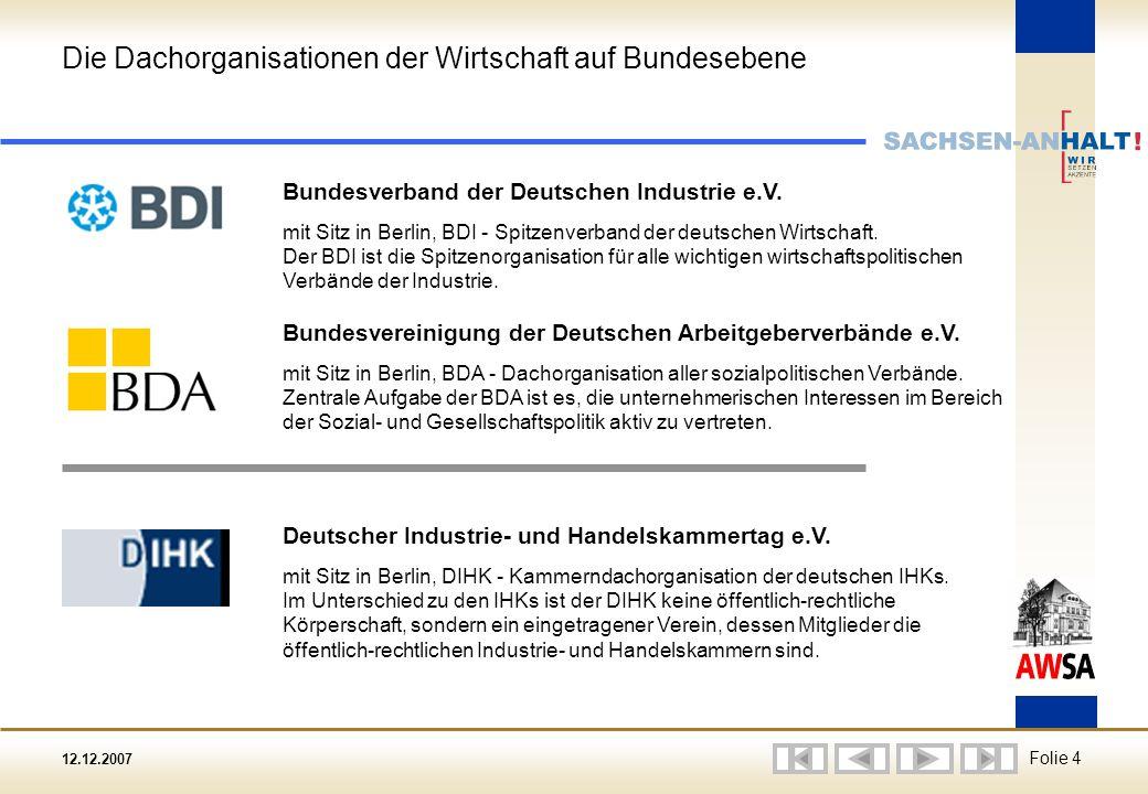 12.12.2007 Folie 4 Die Dachorganisationen der Wirtschaft auf Bundesebene Bundesverband der Deutschen Industrie e.V.