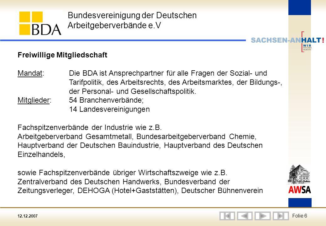 12.12.2007 Folie 6 Bundesvereinigung der Deutschen Arbeitgeberverbände e.V Freiwillige Mitgliedschaft Mandat: Die BDA ist Ansprechpartner für alle Fragen der Sozial- und Tarifpolitik, des Arbeitsrechts, des Arbeitsmarktes, der Bildungs-, der Personal- und Gesellschaftspolitik.
