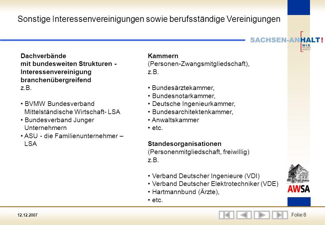12.12.2007 Folie 8 Dachverbände mit bundesweiten Strukturen - Interessenvereinigung branchenübergreifend z.B.