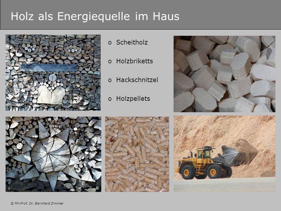 © FH-Prof. Dr. Bernhard Zimmer Holz als Energiequelle im Haus oScheitholz oHolzbriketts oHackschnitzel oHolzpellets