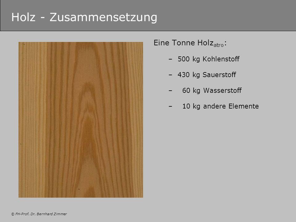 © FH-Prof. Dr. Bernhard Zimmer Holz - Zusammensetzung Eine Tonne Holz atro : –500 kg Kohlenstoff –430 kg Sauerstoff – 60 kg Wasserstoff – 10 kg andere