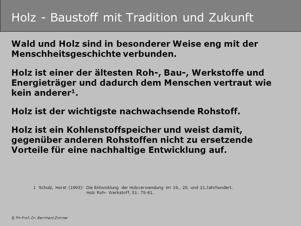 © FH-Prof. Dr. Bernhard Zimmer Holz - Baustoff mit Tradition und Zukunft Wald und Holz sind in besonderer Weise eng mit der Menschheitsgeschichte verb