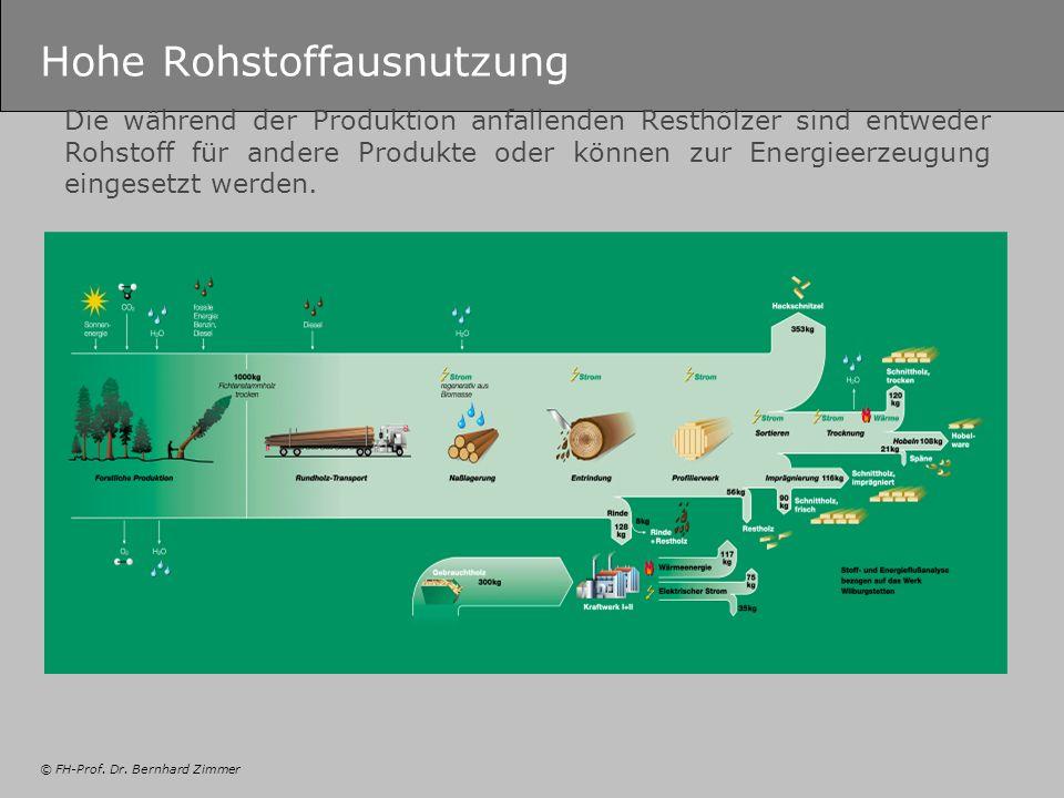 © FH-Prof. Dr. Bernhard Zimmer Hohe Rohstoffausnutzung Die während der Produktion anfallenden Resthölzer sind entweder Rohstoff für andere Produkte od