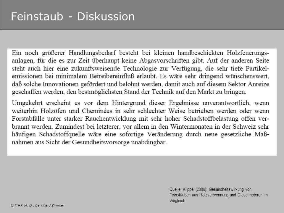 © FH-Prof. Dr. Bernhard Zimmer Feinstaub - Diskussion Quelle: Klippel (2006): Gesundheitswirkung von Feinstäuben aus Holzverbrennung und Dieselmotoren