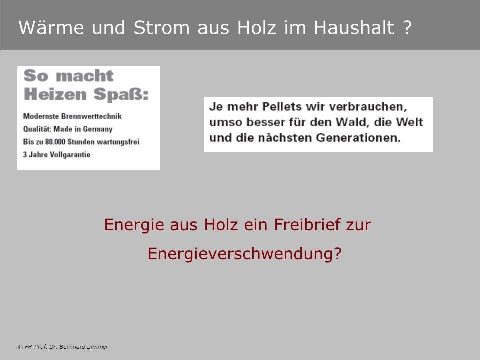 © FH-Prof. Dr. Bernhard Zimmer Wärme und Strom aus Holz im Haushalt ? Energie aus Holz ein Freibrief zur Energieverschwendung?