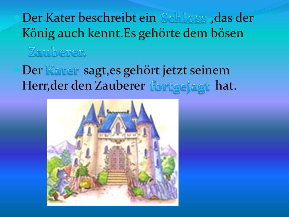 Der Kater beschreibt ein,das der König auch kennt.Es gehörte dem bösen Der sagt,es gehört jetzt seinem Herr,der den Zauberer hat.