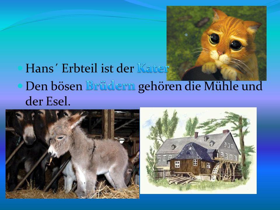 Hans´ Erbteil ist der Den bösen gehören die Mühle und der Esel.