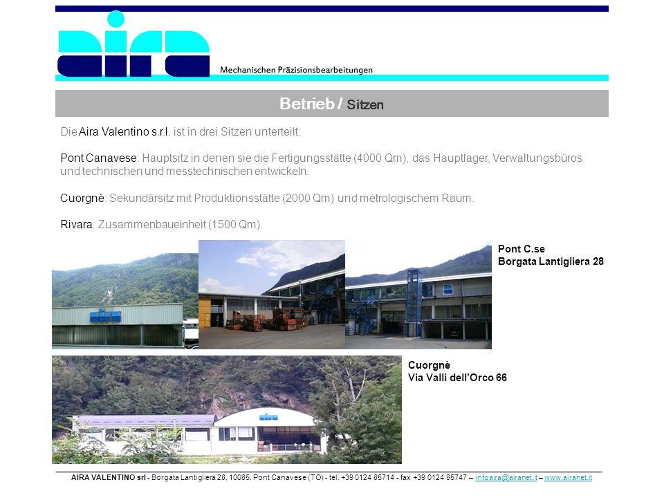 Betrieb / Sitzen AIRA VALENTINO srl - Borgata Lantigliera 28, 10085, Pont Canavese (TO) - tel. +39 0124 85714 - fax +39 0124 85747 – infoaira@airanet.