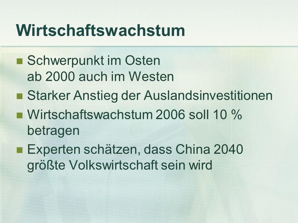 Wirtschaftswachstum Schwerpunkt im Osten ab 2000 auch im Westen Starker Anstieg der Auslandsinvestitionen Wirtschaftswachstum 2006 soll 10 % betragen
