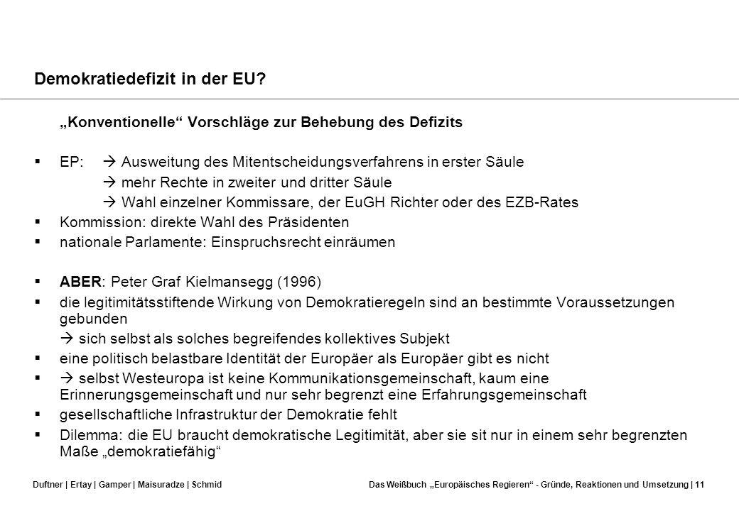 Duftner | Ertay | Gamper | Maisuradze | SchmidDas Weißbuch Europäisches Regieren - Gründe, Reaktionen und Umsetzung | 10 Demokratiedefizit in der EU?