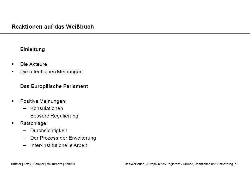 Duftner | Ertay | Gamper | Maisuradze | SchmidDas Weißbuch Europäisches Regieren - Gründe, Reaktionen und Umsetzung | 12 Demokratiedefizit in der EU?