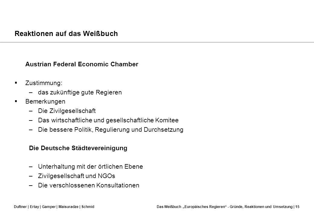 Duftner | Ertay | Gamper | Maisuradze | SchmidDas Weißbuch Europäisches Regieren - Gründe, Reaktionen und Umsetzung | 14 Reaktionen auf das Weißbuch D