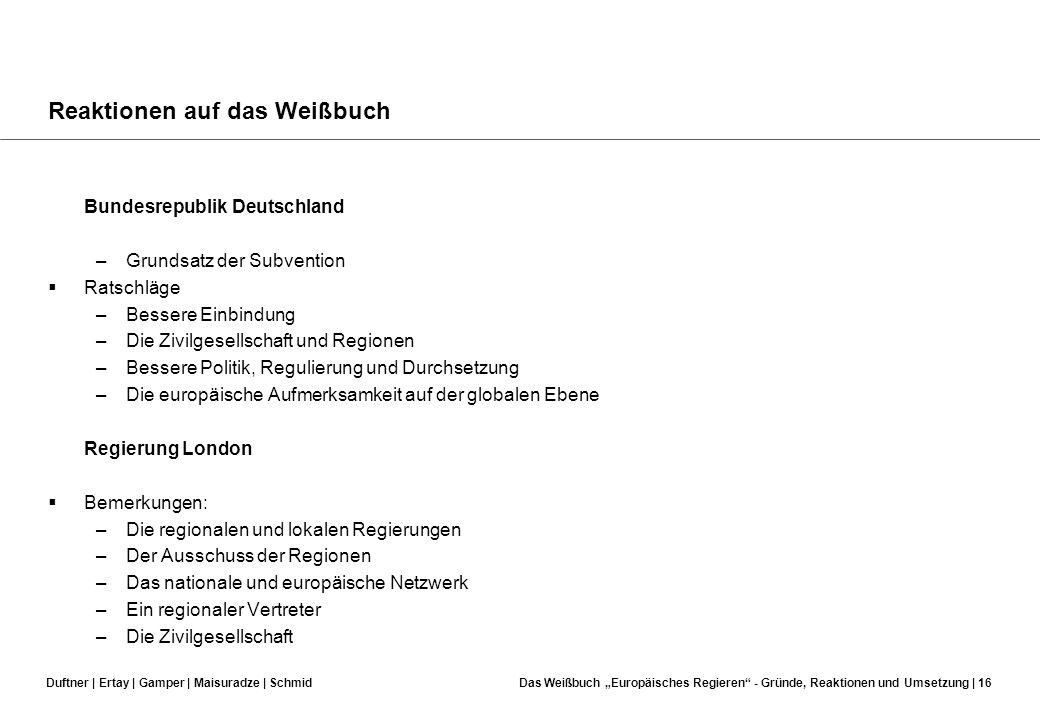 Duftner | Ertay | Gamper | Maisuradze | SchmidDas Weißbuch Europäisches Regieren - Gründe, Reaktionen und Umsetzung | 15 Reaktionen auf das Weißbuch A