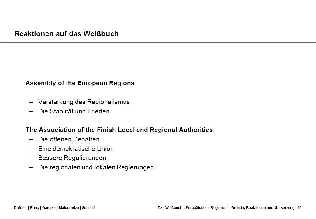 Duftner | Ertay | Gamper | Maisuradze | SchmidDas Weißbuch Europäisches Regieren - Gründe, Reaktionen und Umsetzung | 18 Reaktionen auf das Weißbuch D