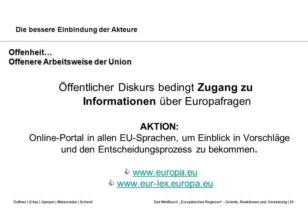 Duftner | Ertay | Gamper | Maisuradze | SchmidDas Weißbuch Europäisches Regieren - Gründe, Reaktionen und Umsetzung | 24 Die bessere Einbindung der Ak