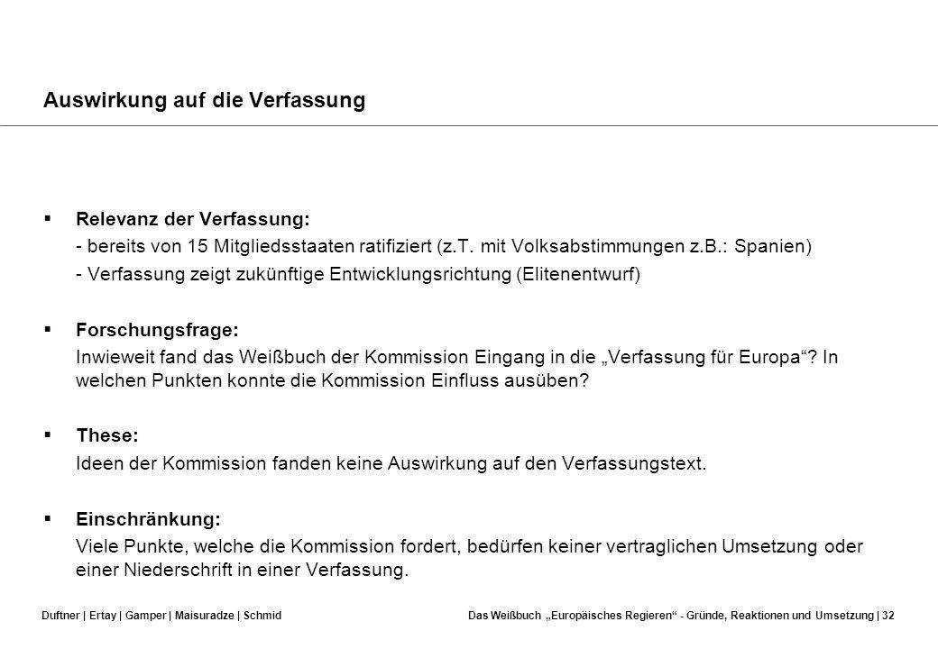 Duftner | Ertay | Gamper | Maisuradze | SchmidDas Weißbuch Europäisches Regieren - Gründe, Reaktionen und Umsetzung | 31 MINDESTSTANDARDS Eindeutiger