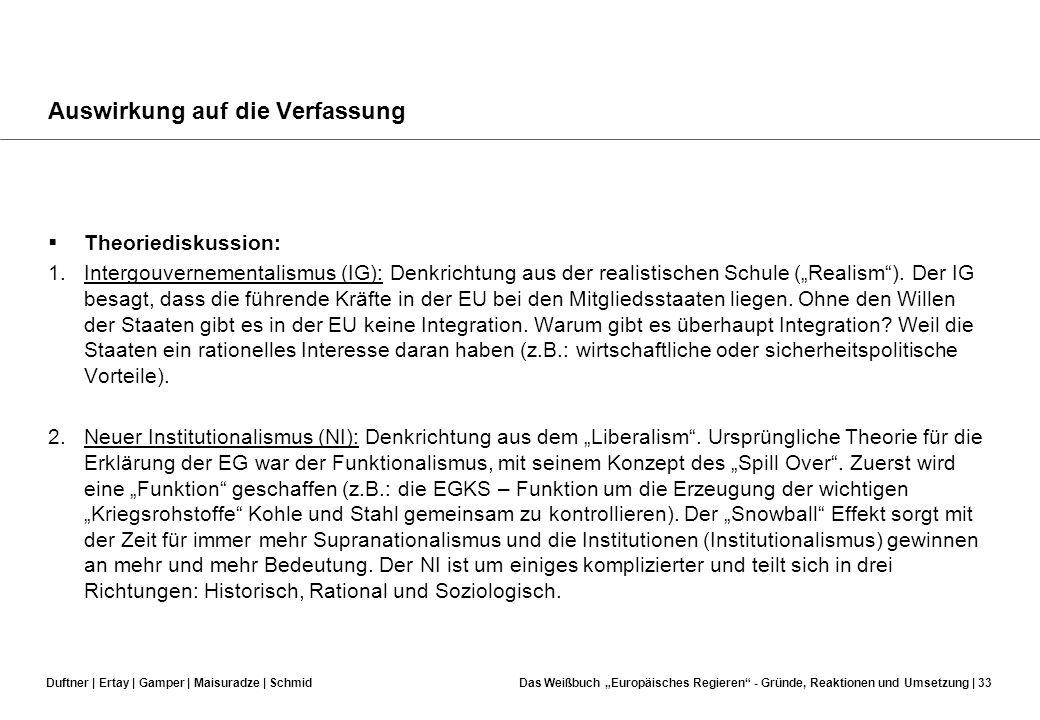 Duftner | Ertay | Gamper | Maisuradze | SchmidDas Weißbuch Europäisches Regieren - Gründe, Reaktionen und Umsetzung | 32 Auswirkung auf die Verfassung