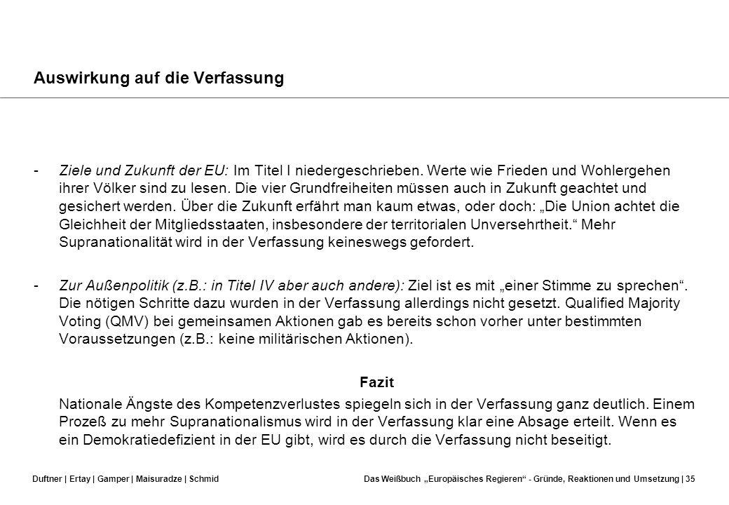 Duftner | Ertay | Gamper | Maisuradze | SchmidDas Weißbuch Europäisches Regieren - Gründe, Reaktionen und Umsetzung | 34 Auswirkung auf die Verfassung
