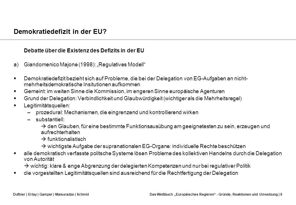 Duftner | Ertay | Gamper | Maisuradze | SchmidDas Weißbuch Europäisches Regieren - Gründe, Reaktionen und Umsetzung | 7 Demokratiedefizit in der EU? D