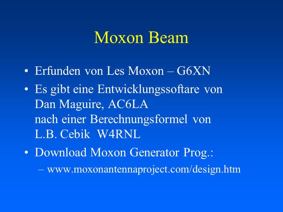 Moxon Beam Erfunden von Les Moxon – G6XN Es gibt eine Entwicklungssoftare von Dan Maguire, AC6LA nach einer Berechnungsformel von L.B. Cebik W4RNL Dow