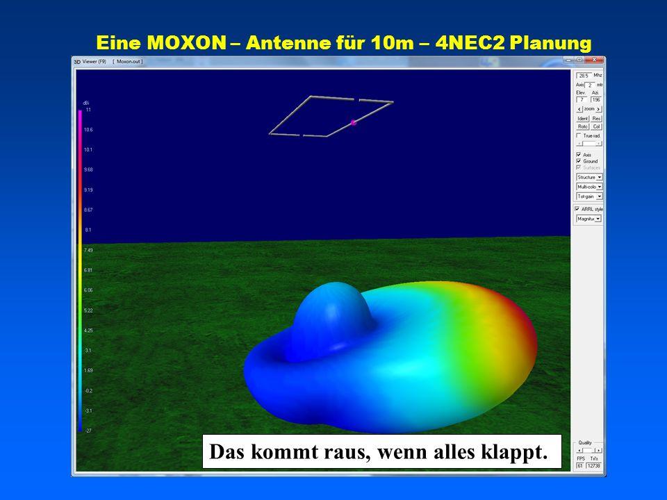 Eine MOXON – Antenne für 10m – 4NEC2 Planung Das kommt raus, wenn alles klappt.