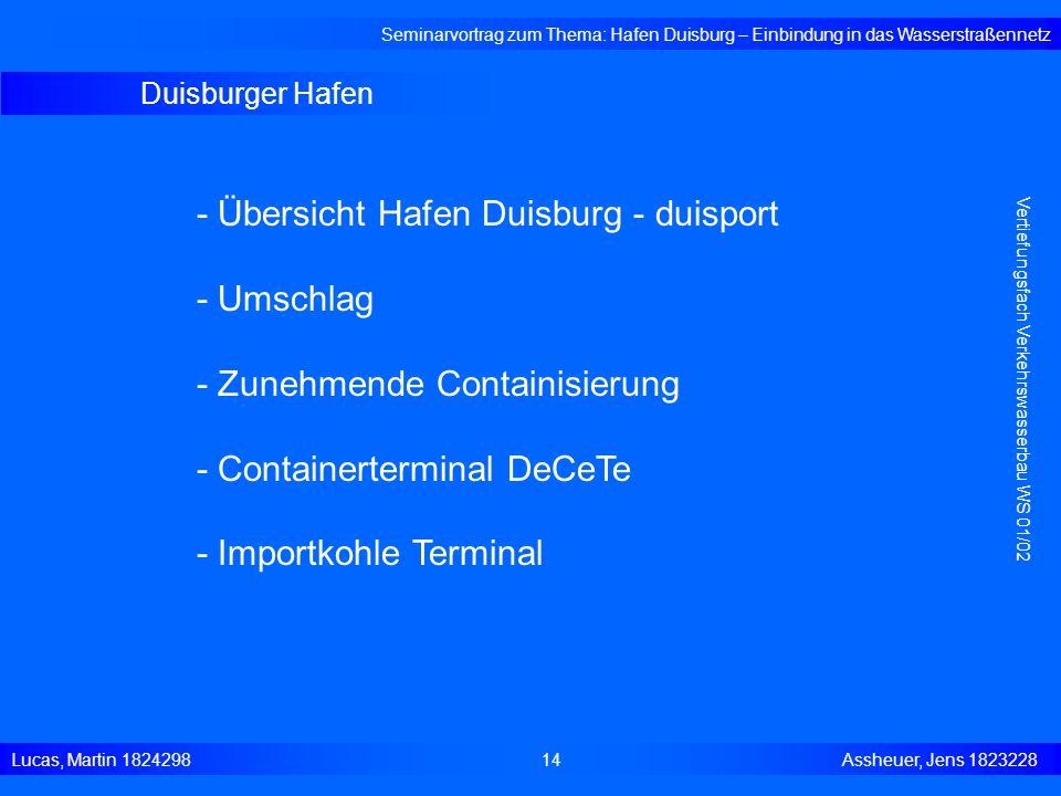 Duisburger Hafen Seminarvortrag zum Thema: Hafen Duisburg – Einbindung in das Wasserstraßennetz Lucas, Martin 1824298 14 Assheuer, Jens 1823228 Vertie