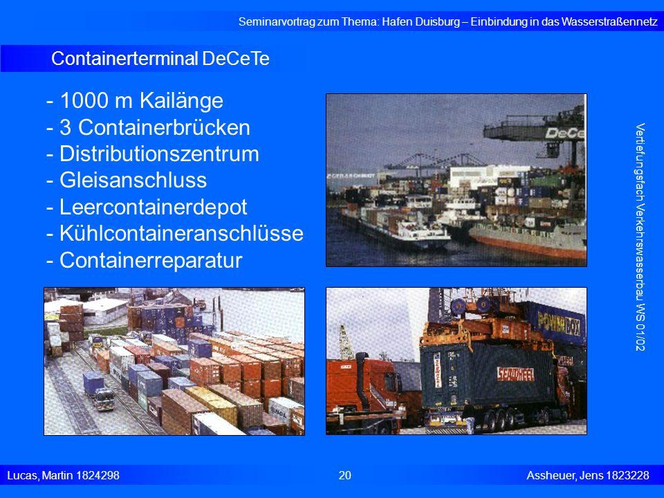 Containerterminal DeCeTe Seminarvortrag zum Thema: Hafen Duisburg – Einbindung in das Wasserstraßennetz Lucas, Martin 1824298 20 Assheuer, Jens 182322