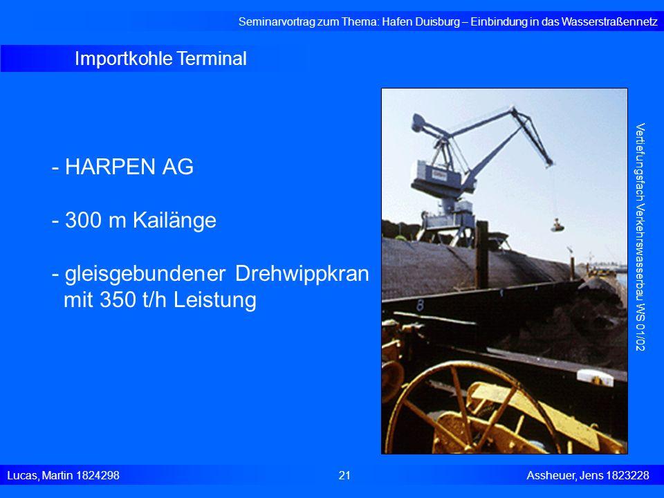 Importkohle Terminal Seminarvortrag zum Thema: Hafen Duisburg – Einbindung in das Wasserstraßennetz Lucas, Martin 1824298 21 Assheuer, Jens 1823228 Ve